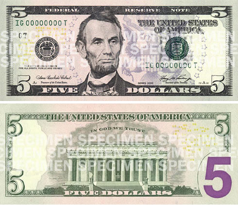 The New $5 Bill for 2008