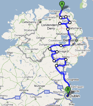 Our actual route from Giants Causeway to Dublin