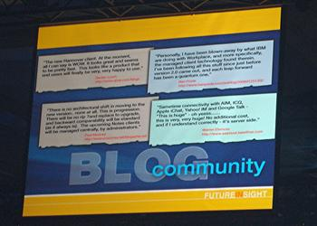 Picture of the blog slide from the closing session