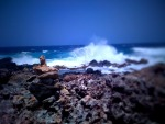 Rocky beach at the Aruba ocean + TiltShift Generator
