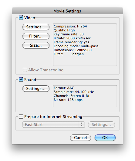 Video output settings for upload to Vimeo